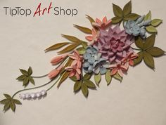 Quilled Flowers and Leaves in Lilac, Blue and Peach by TipTopArtShop https://www.etsy.com/shop/TipTopArtShop