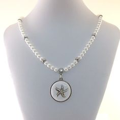 Starfish Pearl Necklace White Glass Pearl by CinLynnBoutique, $29.00