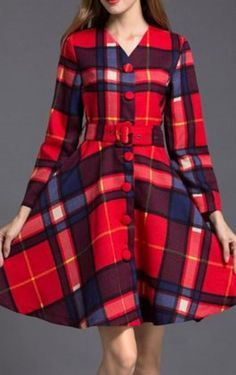 Bright Red Retro Style V-Neck Long Sleeve Plaid Button Embellished Dress For Women #