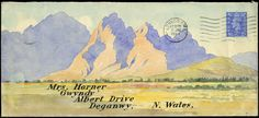 1948 watercolour hand painted envelope from London to the same addressee in North Wales, franked 1941-42 21/2d., depicting Welsh mountains.