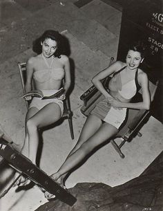 Ava Gardner and Cyd Charisse, 1940s swimsuits are just the best!