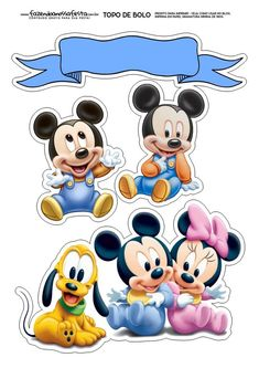 Bebés Disney: Toppers para Tartas, Tortas, Pasteles, Bizcochos o Cakes para Imprimir Gratis. Bolo Mickey Baby, Festa Mickey Baby, Mickey Mouse Birthday, Mickey Minnie Mouse, Disney Mickey, Deco Stickers, Cute Stickers, Mickey Mouse Imagenes, Image Mickey