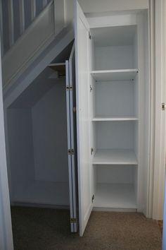 Mike Jones Furniture - handmade bespoke furniture and cabinet making - Understairs Loft Rooms Stairway Storage, Hallway Storage, Basement Storage, Wall Storage, Basement Remodeling, Paint Storage, Storage Under Stairs, Office Storage, Storage Bins