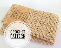 Simple Crochet Dishcloth Pattern | Etsy Cotton Crochet Patterns, Crochet Beret Pattern, Tatting Patterns, Macrame Patterns, Crochet Patterns For Beginners, Crochet Basics, Learn To Crochet, Easy Crochet, Wire Crochet