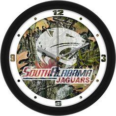 NCAA South Alabama Jaguars Camo Wall Clock