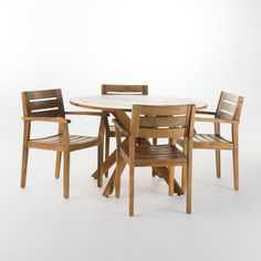 Noble House Darius Acacia Wood Round Outdoor Dining Set 13856 - The Home Depot Round Dining Set, Square Dining Tables, Outdoor Dining Set, Patio Dining, Dining Chair Set, Outdoor Wood Furniture, Teak Table, Wood Rounds, Acacia Wood