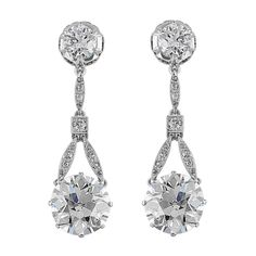 6.37 Carat Old European Diamond Drop Platinum Earrings | From a unique collection of vintage drop earrings at https://www.1stdibs.com/jewelry/earrings/drop-earrings/