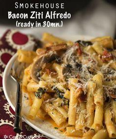 Smokehouse Bacon Ziti Alfredo | Easy Cookbook Recipes