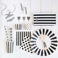 Black Tie Tableware Collection-maybe do black striped plates and red striped cups or other way
