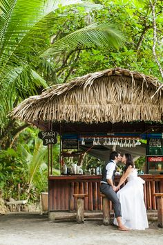Secluded Costa Rica Wedding: Beach Bar Kiss