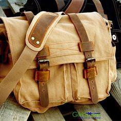 Vintage Men's Style Canvas Leather Satchel School Military Shoulder Messenger Bag