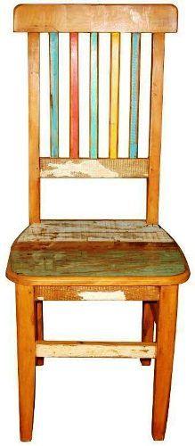 ca264c - cadeira em madeira de demolição colorida - rústica