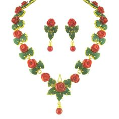 coral and jade rose pattern necklace