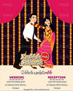 Add a Bollywood drama to your wedding invite by picking up your favourite bollywood movie scene and get it illustrated! Inspired with the Bollywood movie Tanu Weds Manu we have designed this wedding e-invite. 😊💙 Get yours customized now, : WhatsApp: +919878949765 +918699033138 📧: hello@wishnwed.com Website: www.wishnwed.com #wishnwed #wishnwedinvites #einvite #einvitation #whatsappweddinginvite #whatsappweddininvitation #savethdatecards Bollywood Theme, Indian Wedding Invitations, Movie Scene, E Cards, Invite, Wedding Reception, Drama, Photo And Video, Website