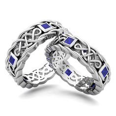 Matching Celtic Knot Wedding Band in 14k Gold Sapphire Wedding Ring. This custom made wedding ring set showcases matching Celtic knot wedding bands for him and her with princess cut sapphires set in 14k gold from My Love Wedding Ring.