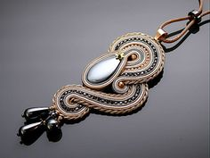 Gray and beige Soutache necklace with Haematite . by ANBijou