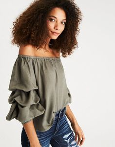 ec6dfa62be9a77 American Eagle Outfitters AE Off-the-Shoulder Tiered Puff Sleeve Top Mens  Outfitters