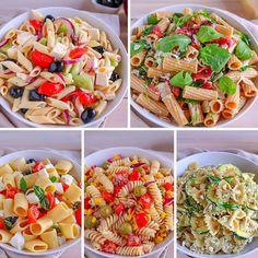 These Easy Pasta Salad Recipes Are Perfect for Summer Potlucks Cucumber Pasta Salad, Caprese Pasta Salad, Greek Salad Pasta, Pasta Salad Italian, Pasta Salad Recipes, Cold Pasta, Vegetable Pasta, Healthy Snacks, Healthy Recipes