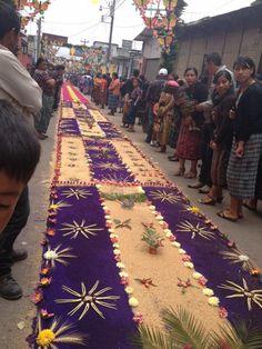 Alfombras de aserrín y flores para la Procesión de Corpus Christi el 2 de junio 2013