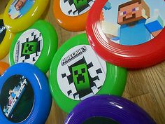 24 MINECRAFT mini frisbees birthday party favor, treat bags, prizes, MINE CRAFT