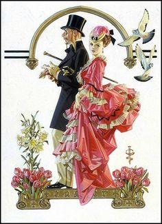 An Afternoon Stroll by Joseph Christian Leyendecker Norman Rockwell, American Illustration, Illustration Art, Vintage Posters, Vintage Art, Vintage Dolls, Vintage Romance, Vintage Images, Jc Leyendecker