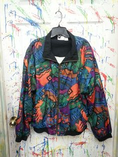 Vintage 80's windbreaker jogging swish zip up jacket for both men and women size Medium Large Purple Green Orange Abstract Motif 1980s by RagsAGoGo, $28.00