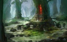 fantasy swamp | Swamp village by xiaoxinart