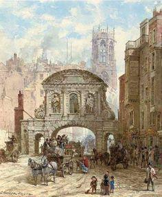 Louise Ingram Rayner (British artist) 1832 - 1924 Temple Bar, London, s.d.