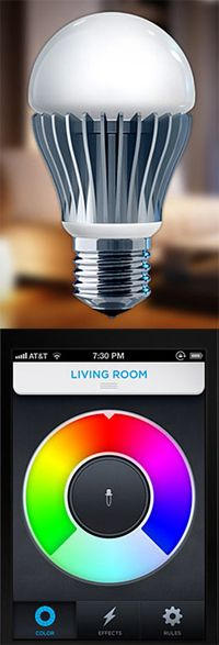 LIFX is a WiFi enabled, multi-color, energy efficient LED light bulb that you control with your iPhone or Android