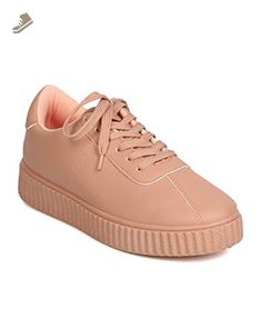 Qupid FH87 Women Leatherette Round Toe Lace Up Flatform Sneaker - Blush (Size: 8.0) - Qupid sneakers for women (*Amazon Partner-Link)