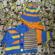 Funny Stripes baby set - free pattern from Patons.com
