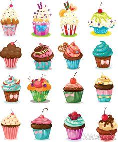 Cartoon cheesecake cups vector