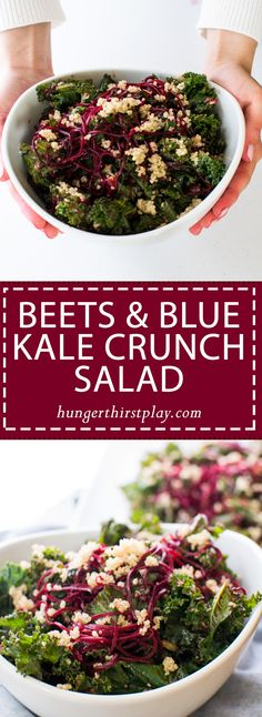 Beets & Blue Kale Crunch Salad | Spiralized beets & blue cheese team up with crunchy kale, glazed walnuts and quinoa for the ultimate superfood salad!