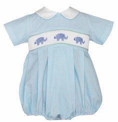 Petit Bebe by Anavini Turquoise Gingham Smocked Baby Elephants Bubble - Boys