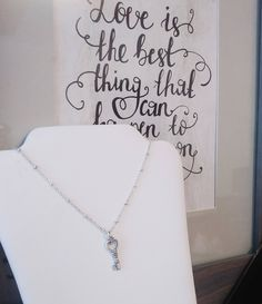 Key to my Heart Sterling Silver station necklace by SpawnySilver on Etsy