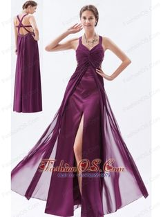 Dark Purple Column / Sheath Straps Prom Dress Chiffon Beading Floor-length  http://www.fashionos.com  A fit and flare gown featuring a straps neckline with asymmetrical ruching. The dress has a touch of beading at the waist.The open back adds the charm.The high slit complete the look.This excellent dress is your best choice for any party.