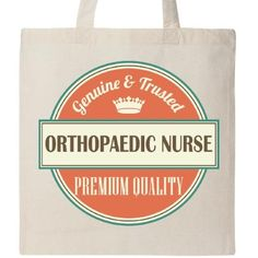 Inktastic Orthopaedic Nurse Funny Gift Idea Tote Bag Retired Occupations Job Vintage Logo Clothing Classic Career Reusable Grocery Book Hws, Beige