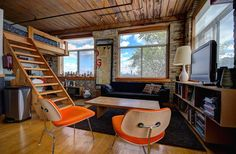 Small Space Living, Living Spaces, Toronto Lofts, Industrial Office Space, Hardwood Floors, Flooring, Exposed Brick Walls, Open Concept Kitchen, Wood Ceilings