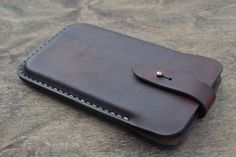 Case for iPhone 6 Plus - Handmade Leather iPhone 6 Plus Pouch / - Pouch on the belt - Dark cognac