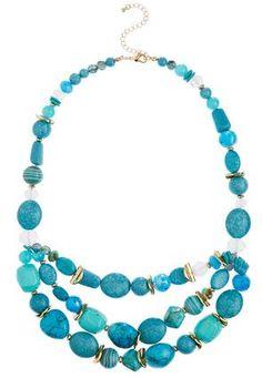 Cato Fashions Layered Turquoise Bead Necklace #CatoFashions