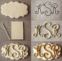 How to make letters for gumpaste and fondant monograms. Cake decorating tips and… How to make letters for gumpaste and fondant monograms. Cake decorating tips and tricks Cake Decorating Techniques, Cake Decorating Tutorials, Cookie Decorating, Decorating Cakes, Decorating Ideas, Fondant Toppers, Fondant Cakes, Cupcake Cakes, Fondant Figures