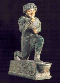 Chapter 2. Mesopotamian Art, From C. 2000 to 330 BCplate 55.  The Worshipper of Larsa (7 3.4 x 5 3/4 in.), bronze, gold, and silver, from Larsa, beginning of the second millenium BC.  Musée du Louvre, Paris.