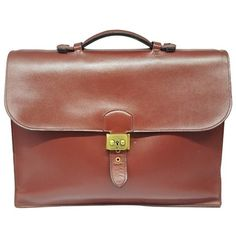 Pre-owned Hermès Leather Satchel (78.690 RUB) ❤ liked on Polyvore featuring men's fashion, men's bags, burgundy, men bags bags, mens satchel bags, mens bag, mens satchel, mens leather bag and mens mini bag
