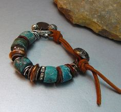 Natural Organic Blue Turquoise Bracelet with Silver por pmdesigns09