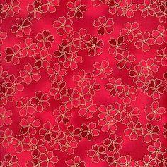 1 Yard Red Rooster 18419-R Sakura Floral Metallic Red Asian Fabric