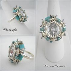 *P Beading Tutorial ring DRAGONFLY step by step with pictures