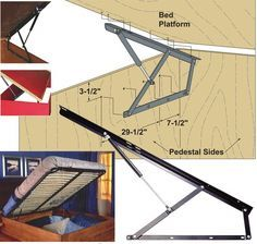 SOFT CLOSING PLATFORM BED STORAGE LIFTS - GAS SPRING MECHANISM ALLOWS EASY ACCESS TO UNDER BED STORAGE SPACE: easily add storage for bedding, toys or off season sporting equipment to a platform bed; mechanisms attach to pedestal sides & platform top and provide assisted opening and dampened closing action w/o  need for additional hardware -- for twin or full size bed platforms, in three weight ranges. from $82.50/pair.