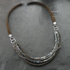 Tips On How To Enhance Your Jewelry Collection Necklace raw sterling silver labradorite and by studioformood The post Tips On How To Enhance Your Jewelry Collection appeared first on Beautiful Daily Shares. Leather Necklace, Diy Necklace, Leather Jewelry, Wire Jewelry, Jewelry Crafts, Beaded Jewelry, Silver Jewelry, Handmade Jewelry, Jewelry Necklaces