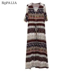 5fe49badcfbab ROPALIA V-neck Floral Print Vintage Long Maxi Dress Plus Size. Boho Style  DressesBeach ...