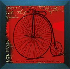 Bicycle II is a vintage style sports art print featuring a picture of an old fashioned bicycle, known as a velocipede, made between 1817 and 1880. This nostalgic old bicycle is on a brilliant red background with what looks to be handwritten notes on bicycle riding.